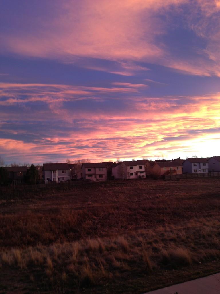 denver, colorado, sunset, beautiful, broncos, clouds,