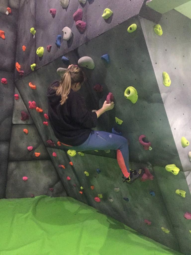 Attempting bouldering