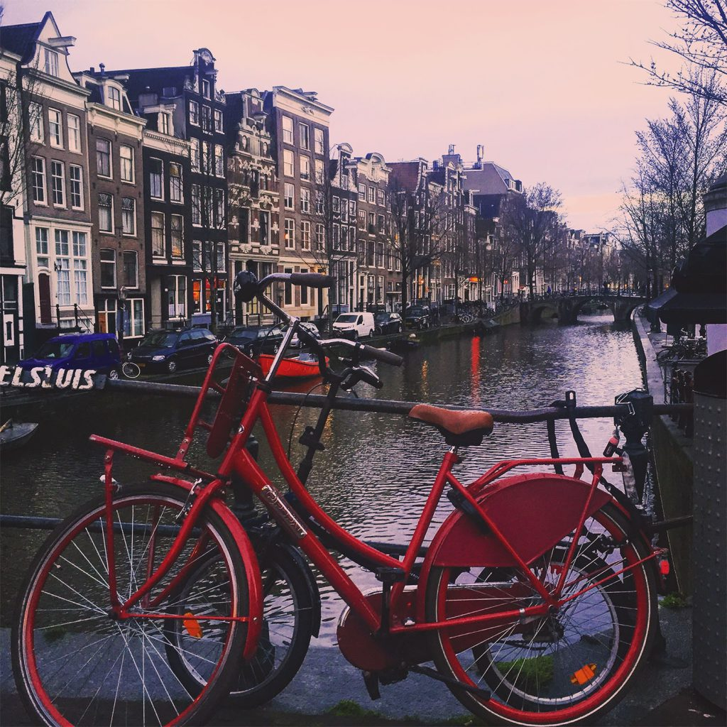 red bicycle in Amsterdam