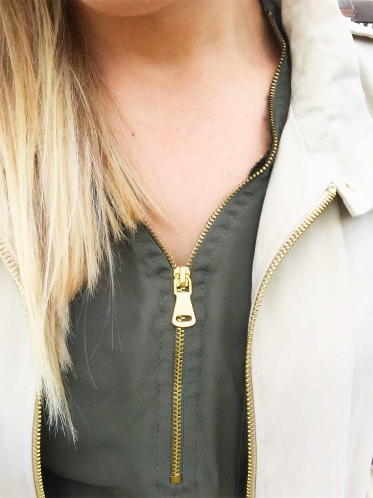 zipper, navy green shirt and zara jacket