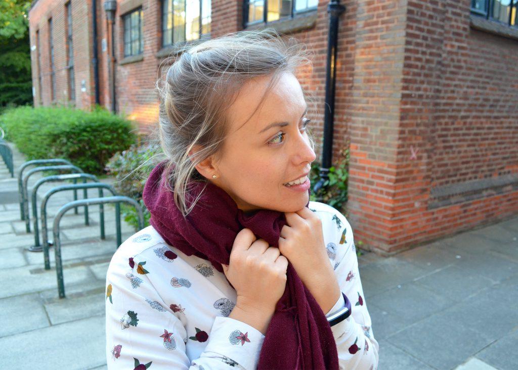 scarf, zara shirt