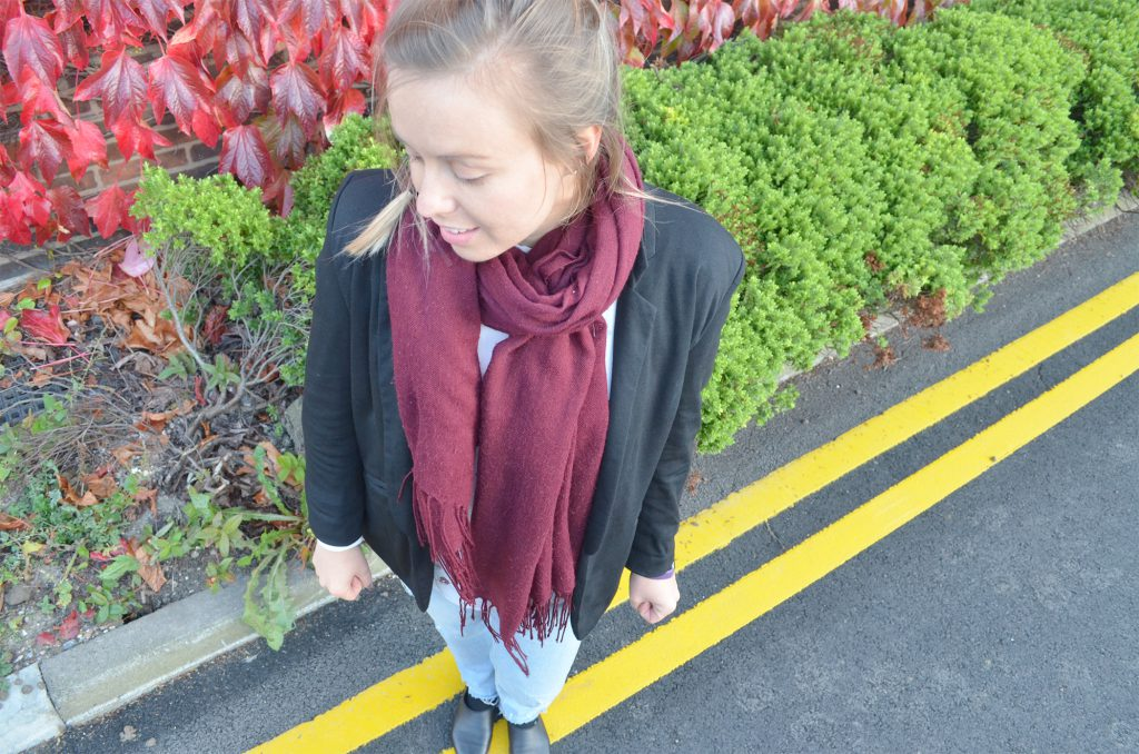 blazer, scarf, autumn, ootd