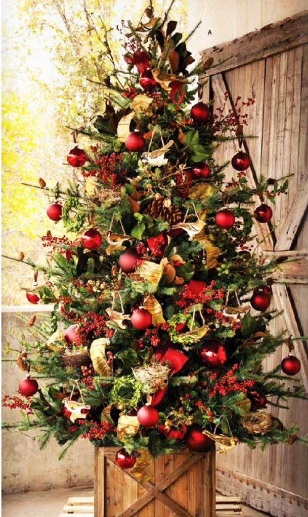 beautiful, christmas, trees, decorations, red