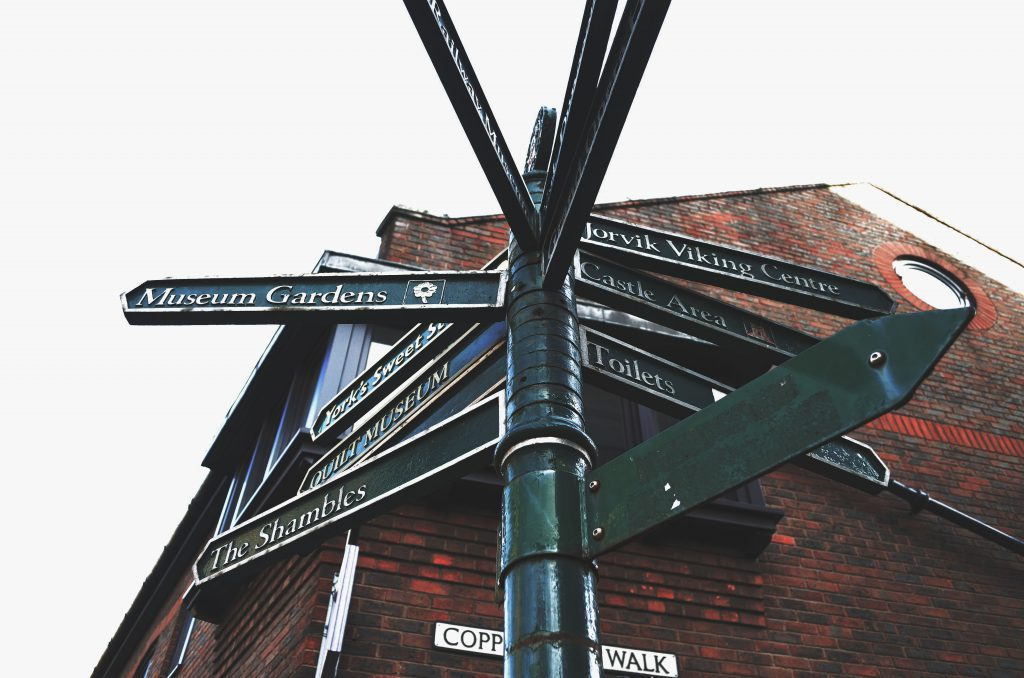 street signs of York
