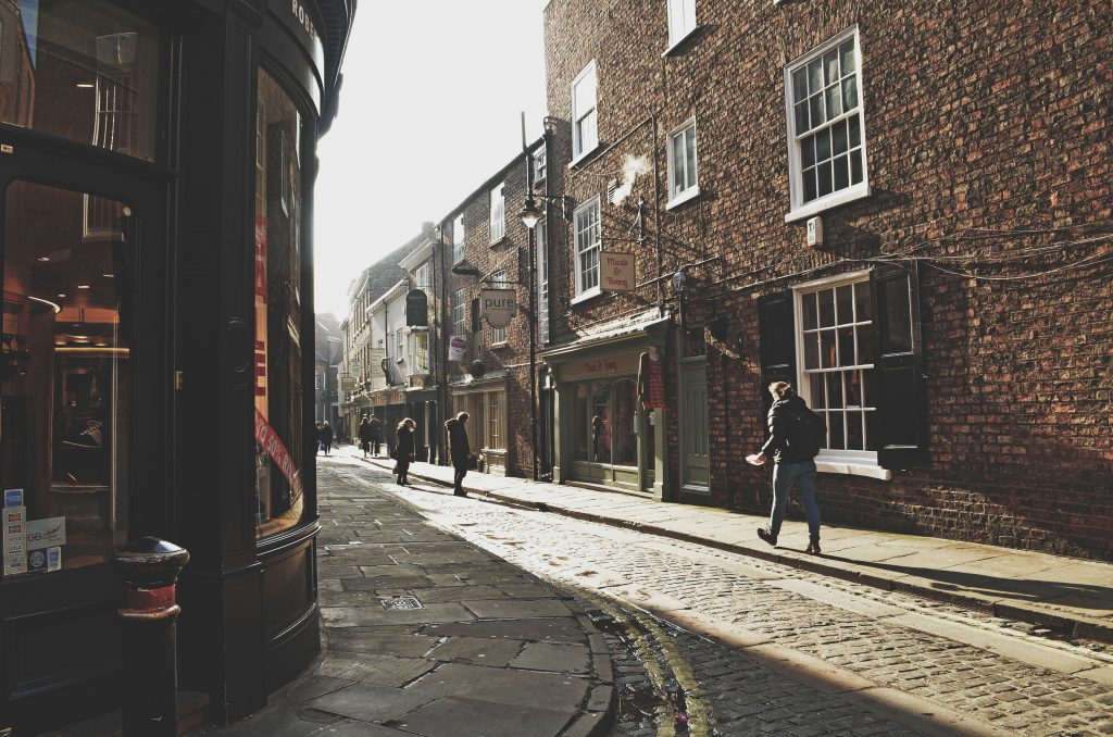 Sunlight on Yorkshire streets, York, England
