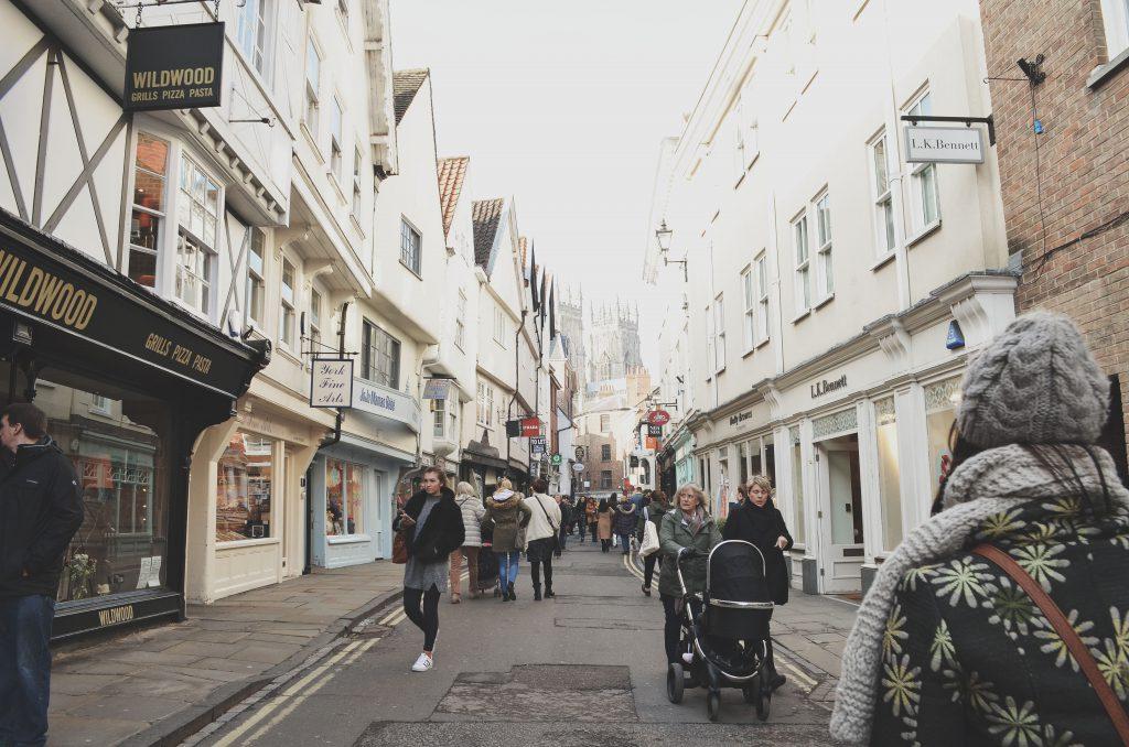 bustling streets of York, Northern England