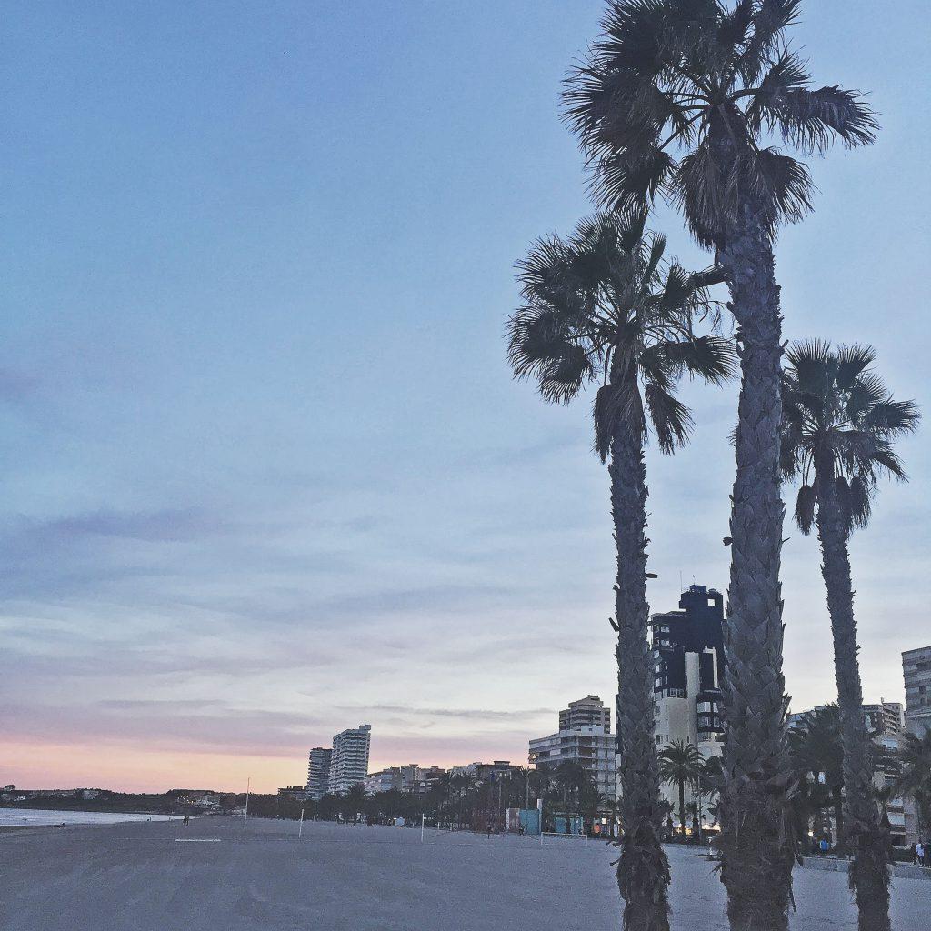 beautiful playa san juan, alicante, spain at dusk
