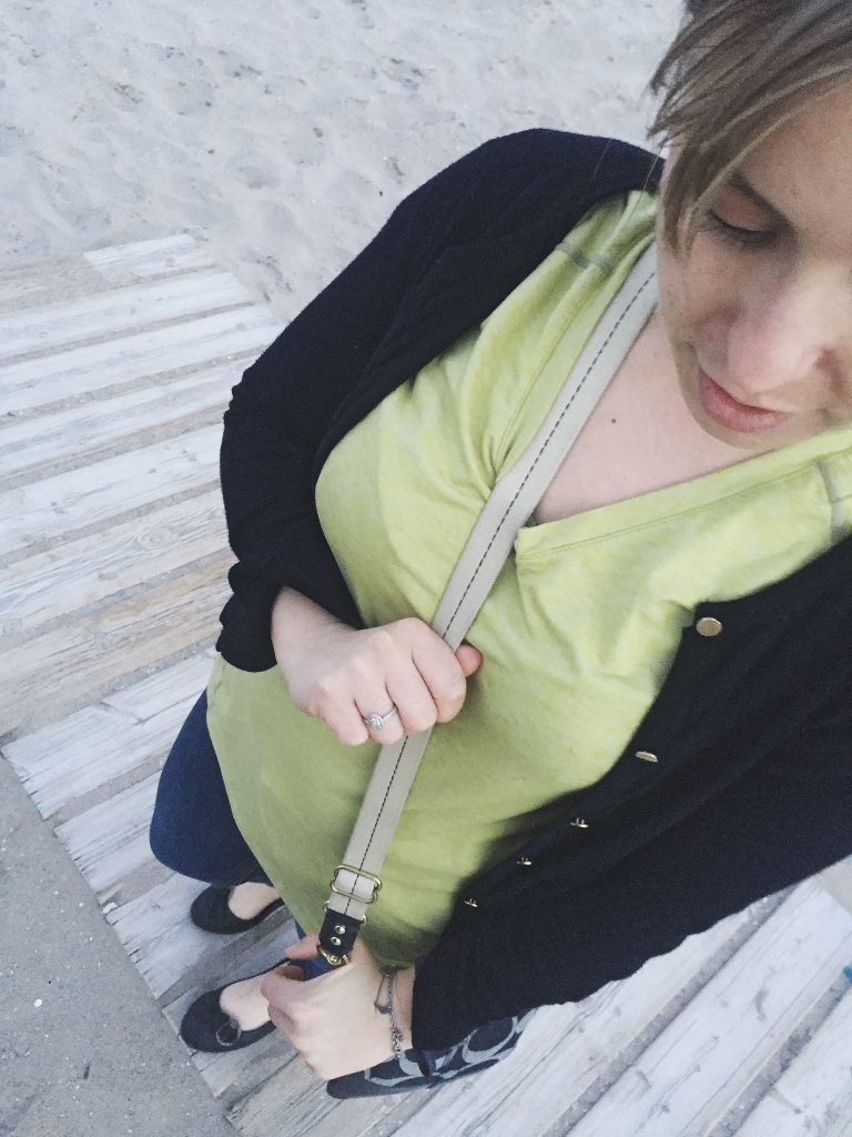 neon shirt and ballet flats on the beach
