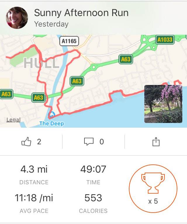 Run, Hull, Sunday Afternoon, Strava