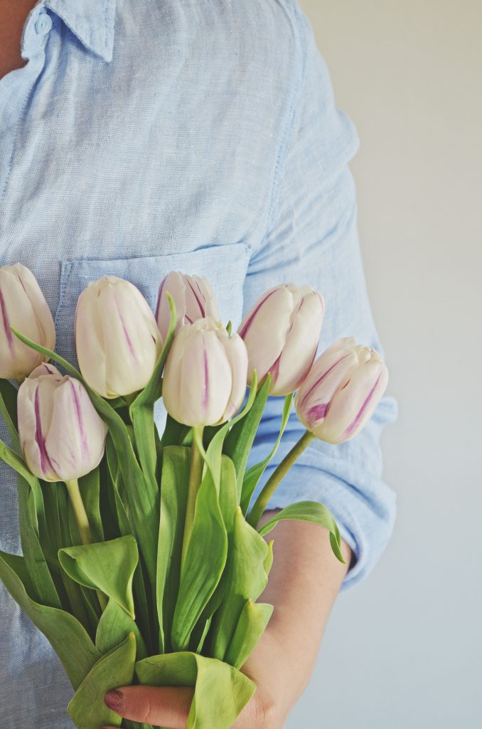 tulips and blue linen, mark and spencer's