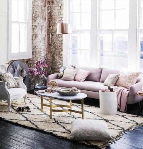 Bricks, Pink, Rose Gold living space