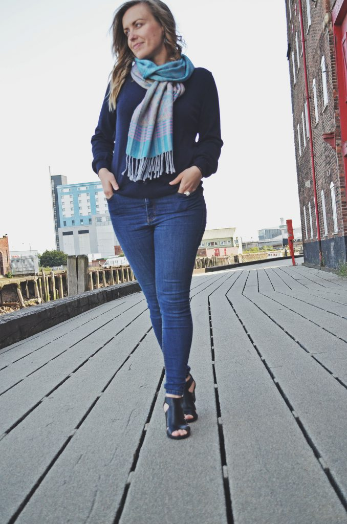 fashion blogger in Hull, black sandals for summer, blue scarf and M&S cotton v-neck jumper