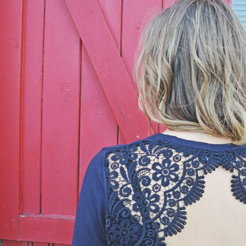 Marks and Spencer, Lace V-Neck Jumpers in Navy, lifestyle blog