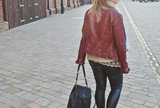 Faux leather jacket and faux leather leggings with lacey top