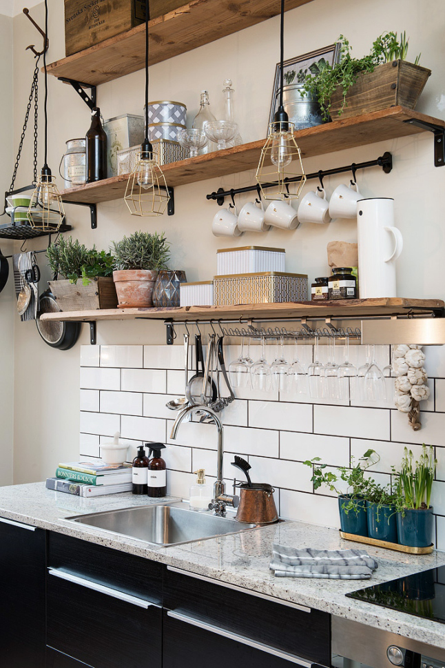 open shelving decor in the kitchen