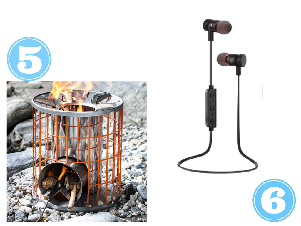 portable camping stove and bluetooth headphones