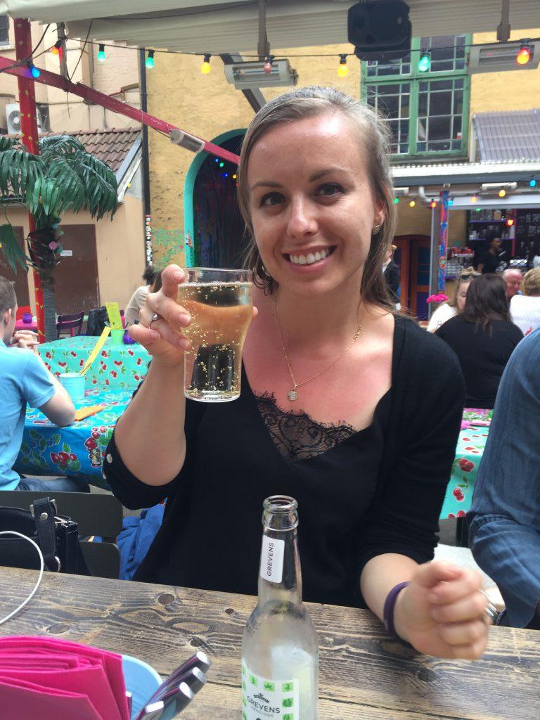 enjoying a cidre in Oslo