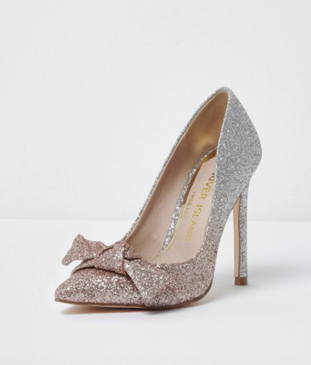cute holiday party shoes - river island sparkly glitter shoes