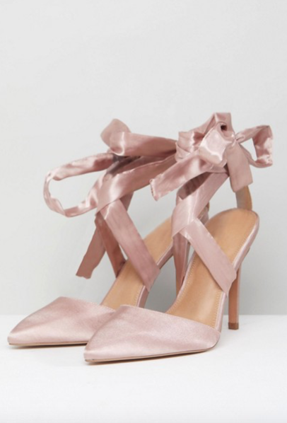cute holiday party shoes - lace up satin heels