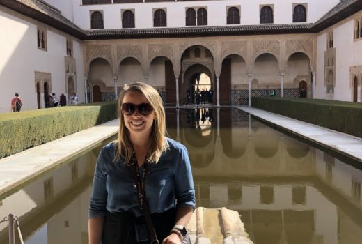 Standing in front of the pools, Alhambra